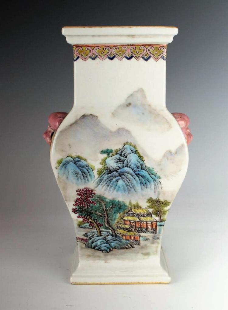 A Chinese Qing dynasty famille rose square porcelain vase
