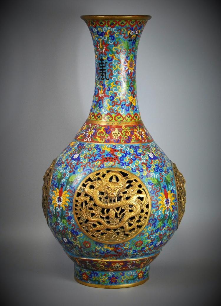 A Chinese antique cloisonné vase