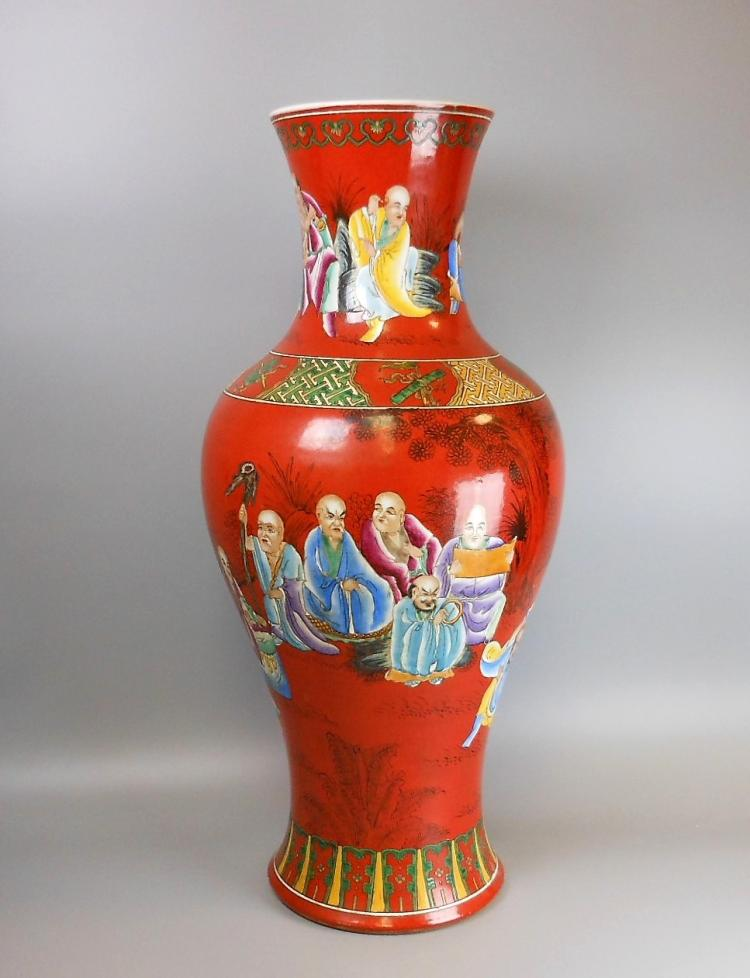 A large Chinese Qing dynasty coral red famille rose vase