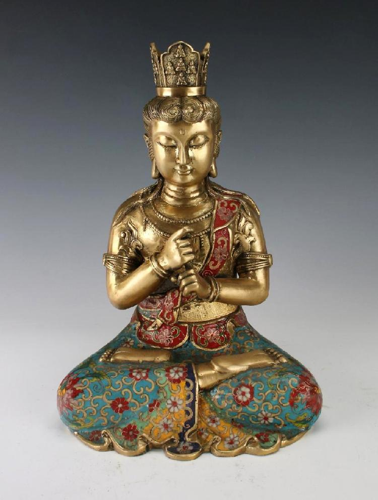 A Chinese cloisonné bronze fist of wisdom Buddha