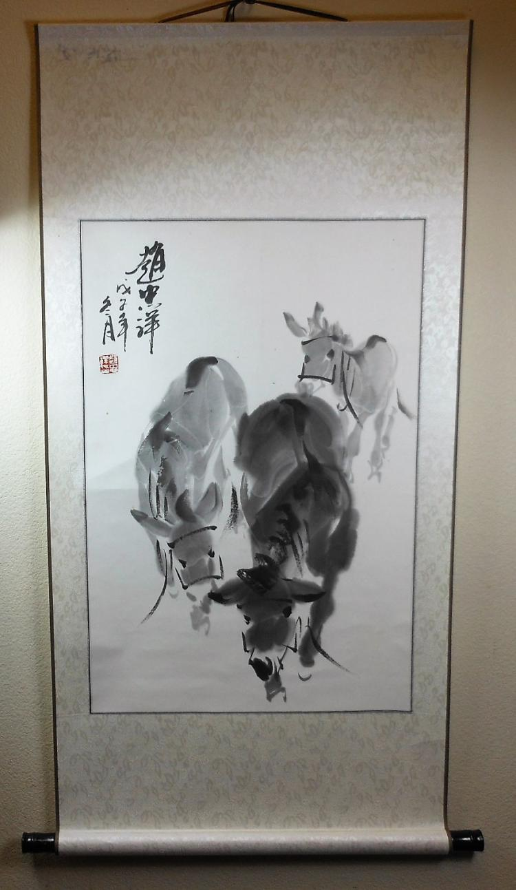 A Chinese color painting paper scroll painted with donkeys
