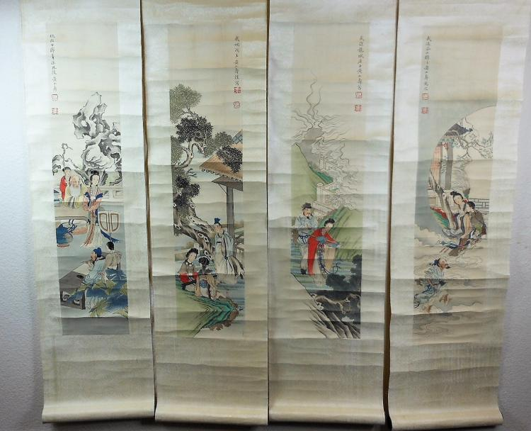 4 Chinese color painting paper painted figures