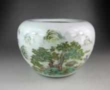 A Chinese famille rose porcelain brush waster