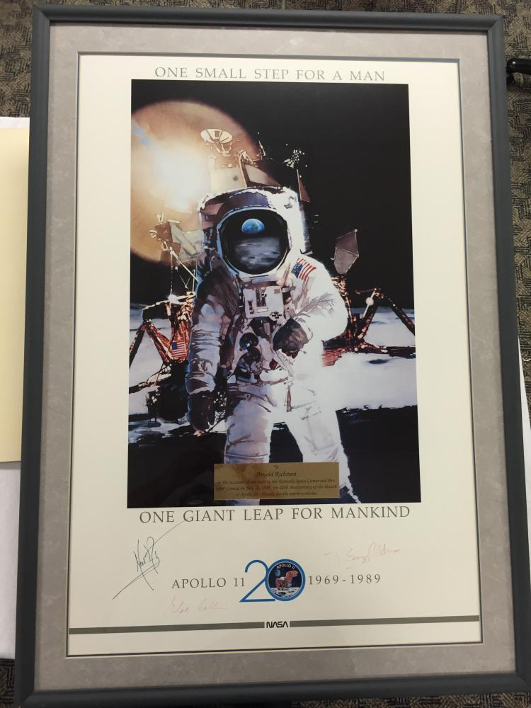 Apollo 11 20th Anniversary Crew Signed framed poster