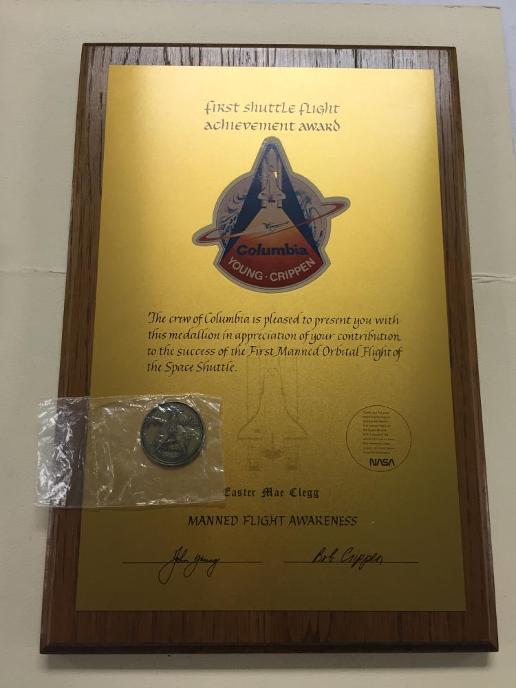 STS-1 Unusual Crew Presentation with Coin