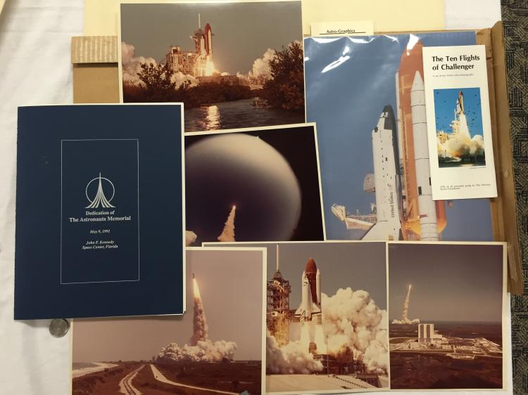 Space Shuttle lot with photos