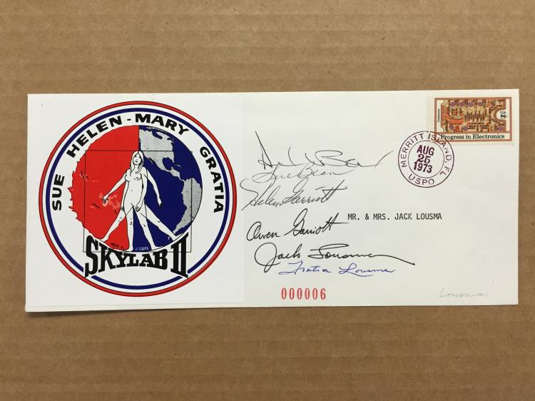 Jack Lousma's Signed Wives and Crew Skylab 2 Cachet