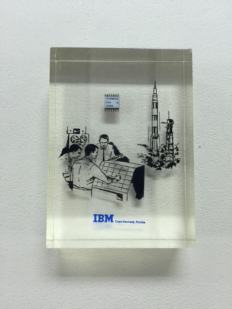 Apollo Era IBM First IC Chip Lucite Display