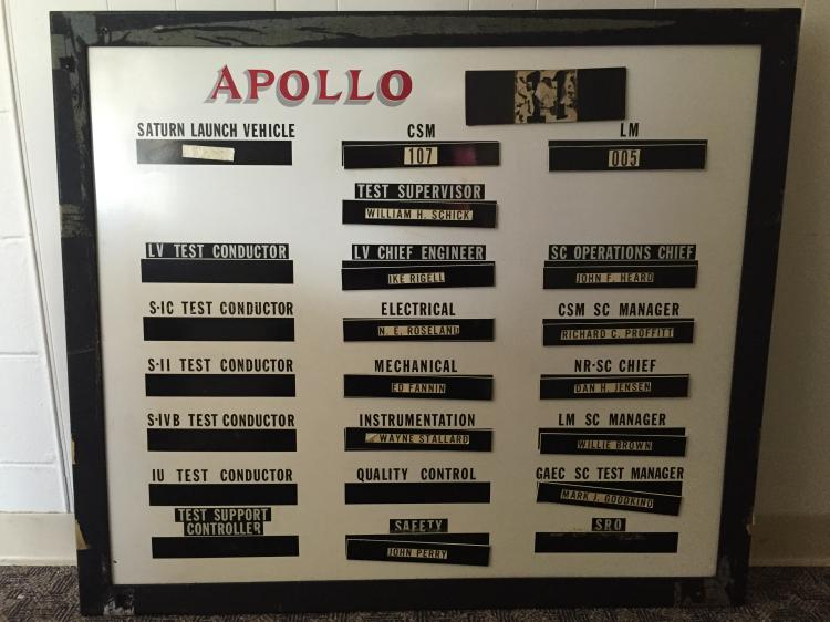 Original Apollo 11 LCC assignment board used the day of launch