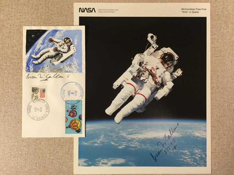 Signed litho of Bruce McCandless' famous EVA