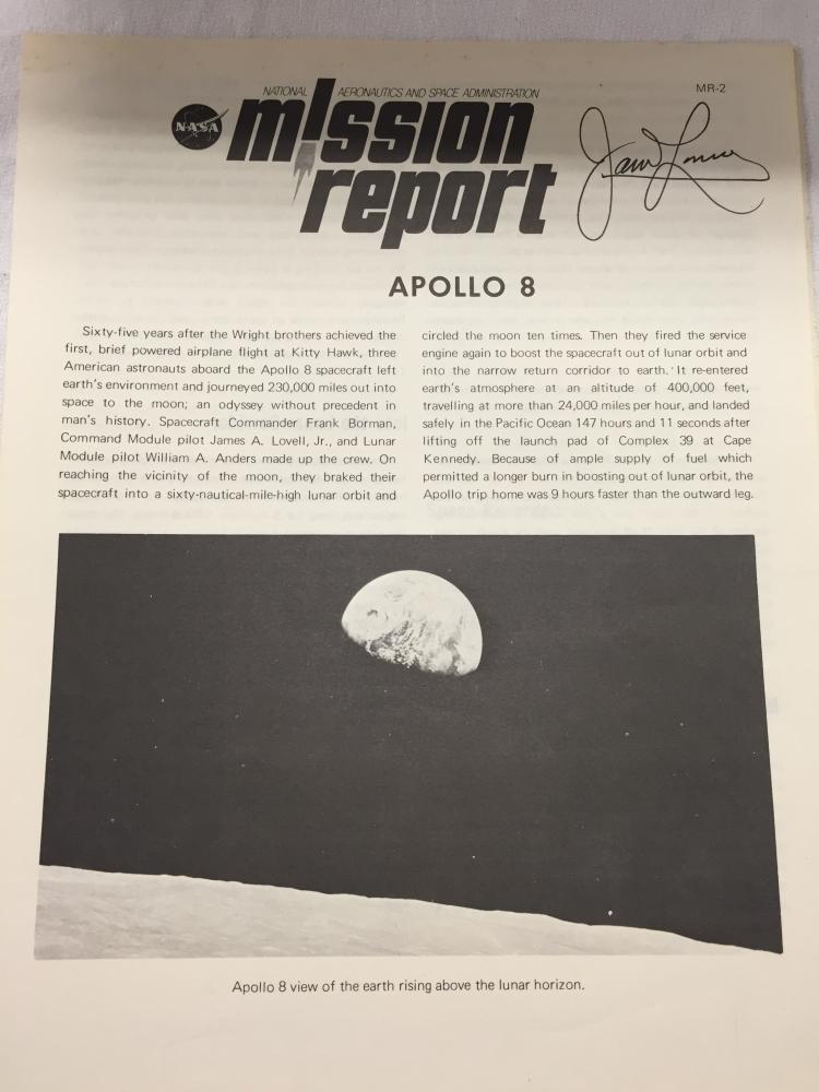 Apollo 8 Mission Report signed by Lovell