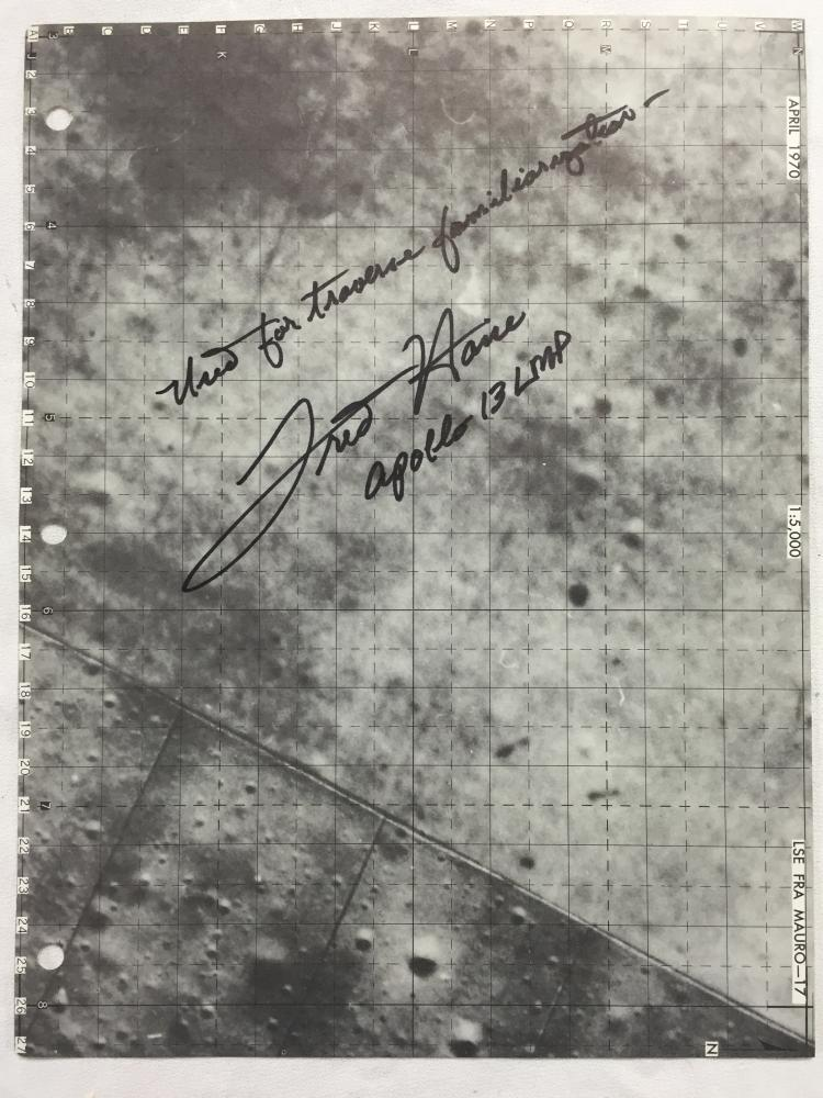 Apollo 13 signed & Original Lunar Map Page