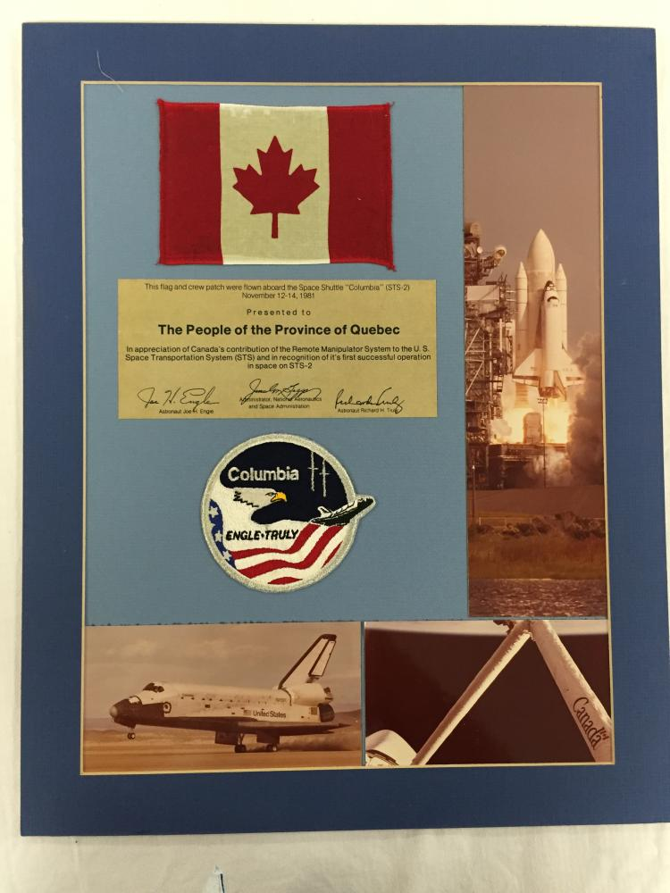 STS-2 Flown Flag and Patch display award