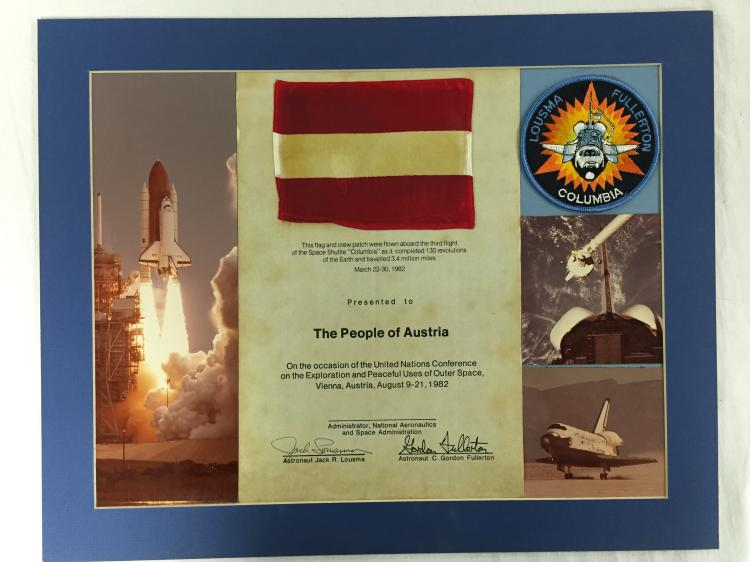 STS-3 Flown Flag and Patch display