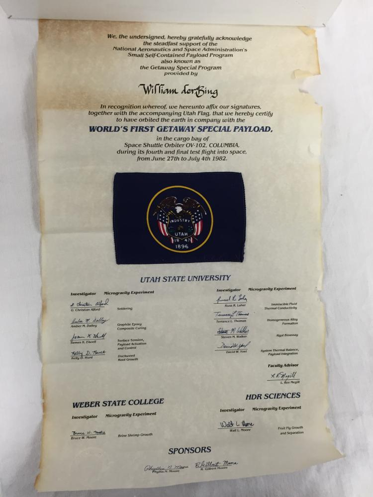 STS-4 Flown in space Flag on certificate.