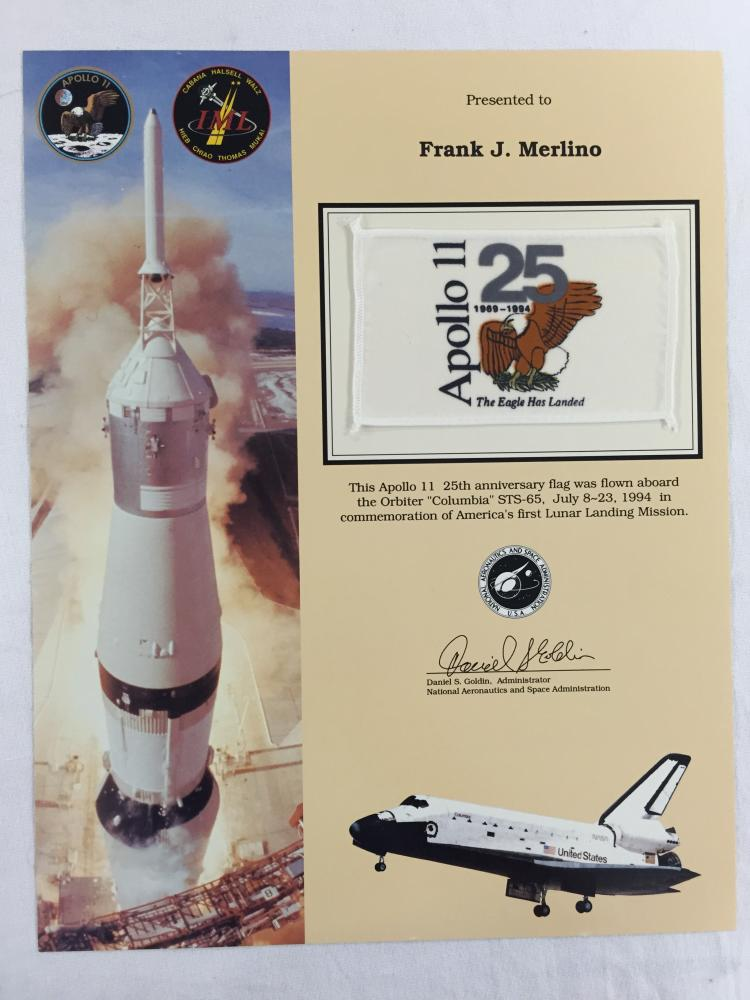 Frank Merlino's STS-65 Flown Flag on display