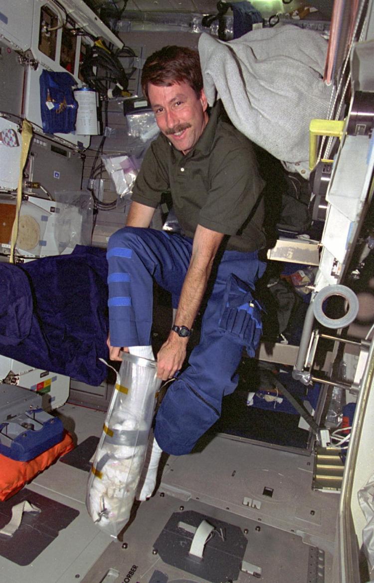 Space Shuttle On board trash stowage bag.