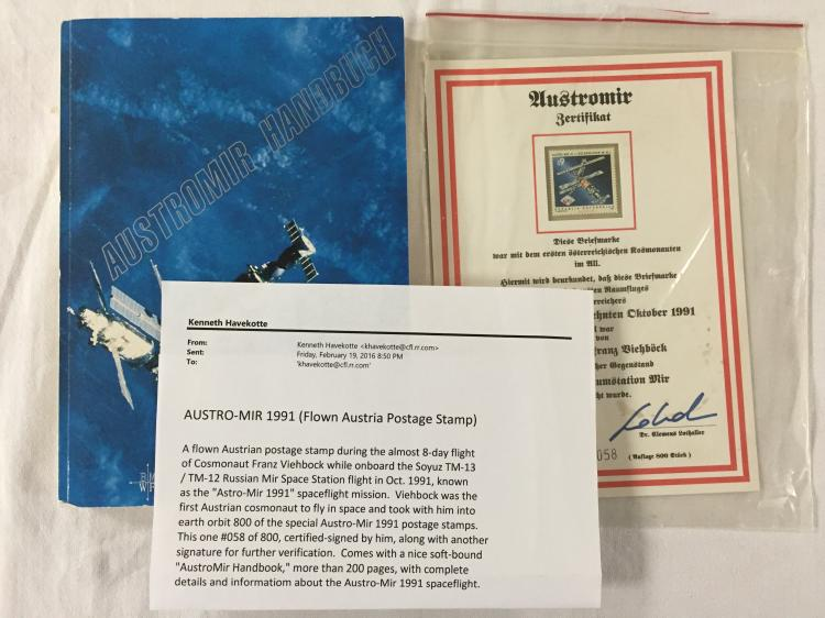 Austro-Mir 1991 -- A flown mounted Austria postage stamp onboard Soyuz TM-13/12/Mir