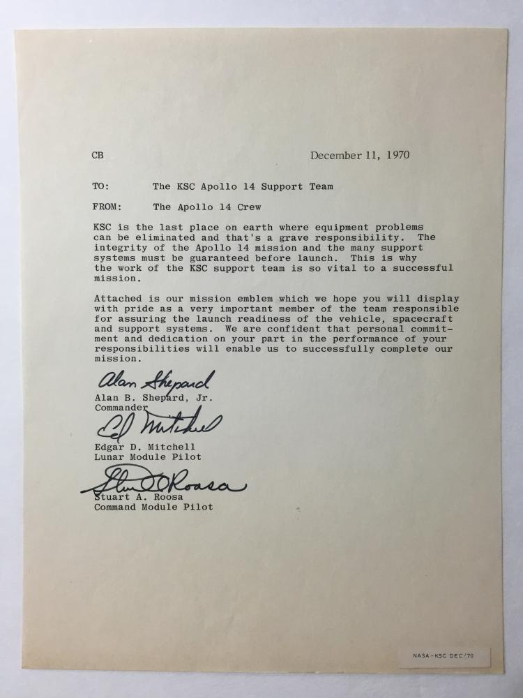 Apollo 14 One of a kind Original signed KSC Team letter