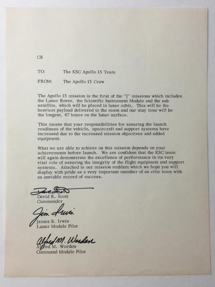 Apollo 15 one of a kind Original signed KSC Team letter