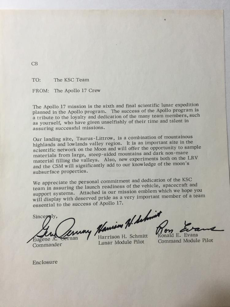 Apollo 17 one of a kind Original signed KSC Team letter