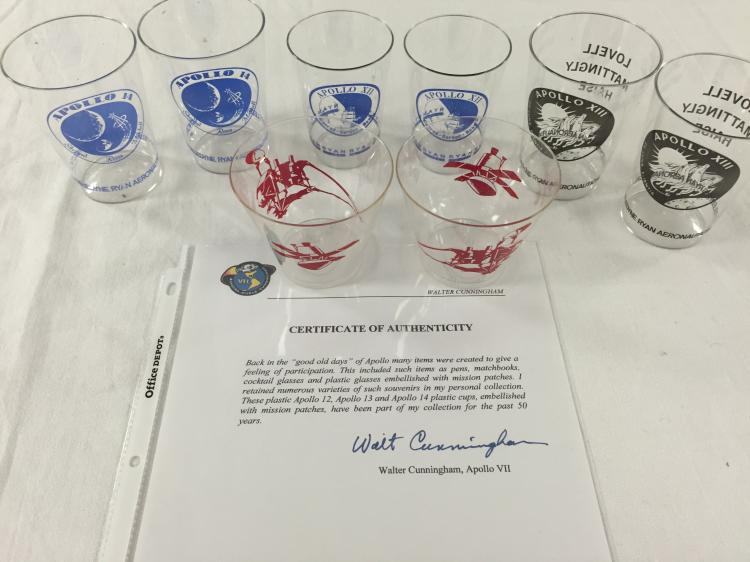 Walt Cunningham's plastic drink party cups with COA