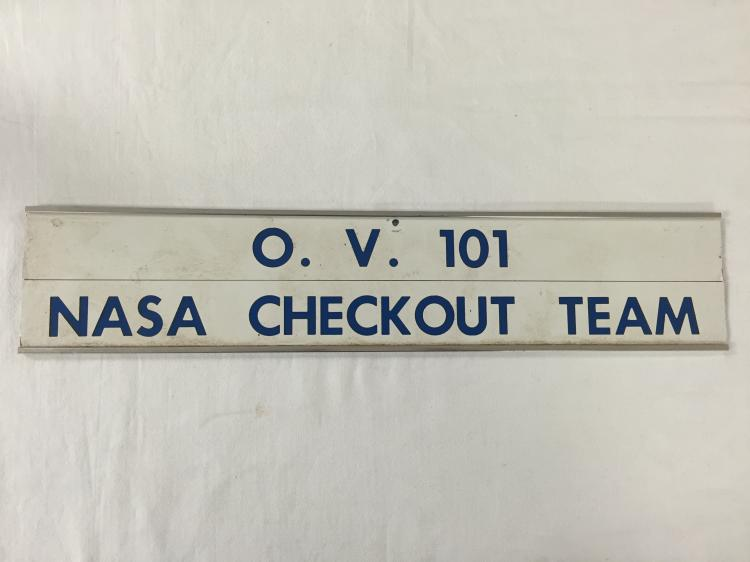 O. V. 101 NASA Checkout Team sign.