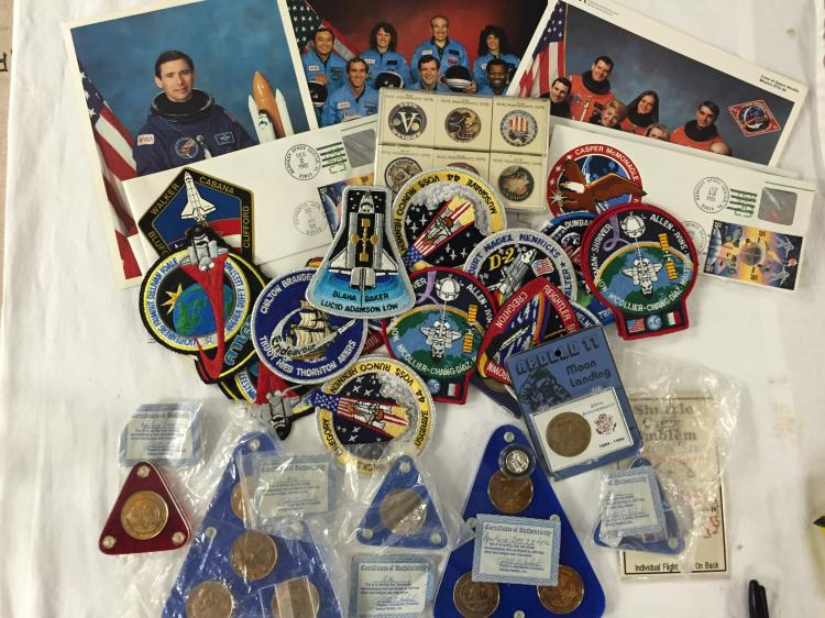 Huge Space Shuttle Collection of silver coins, Patches and assorted Items.