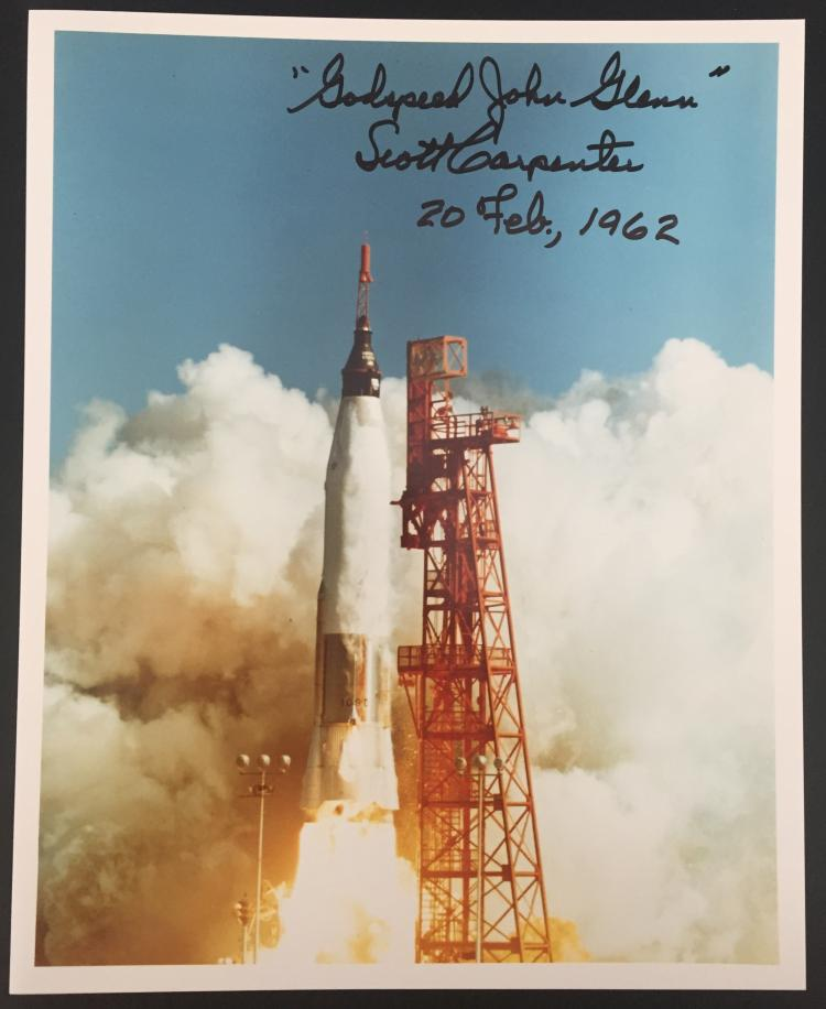 Scott Carpenter signed launch photograph