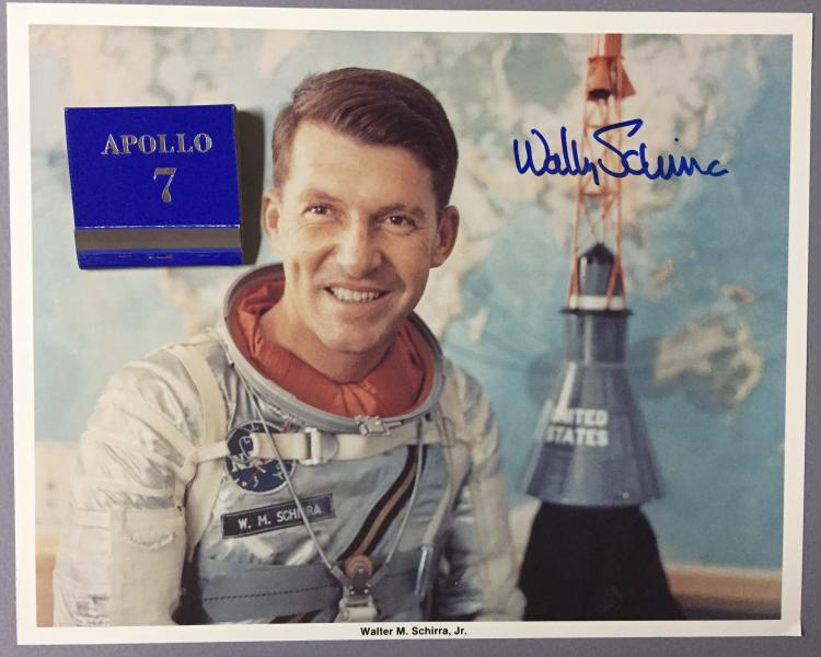 Wally Schirra signed lithograph and Apollo 7 match book