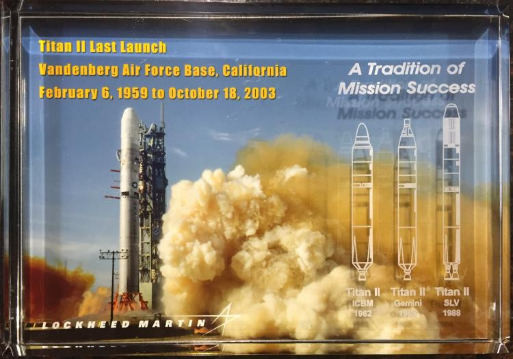 Titan II Last Launch Lucite by Lockheed Martin