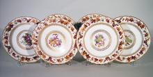 Antique Derby Porcelain Set of Six Plates, Pattern  Number 126, painted by William Longden