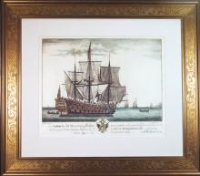 Engraving of H.M.S. Blenheim by A. Roublard, Dated 1704.