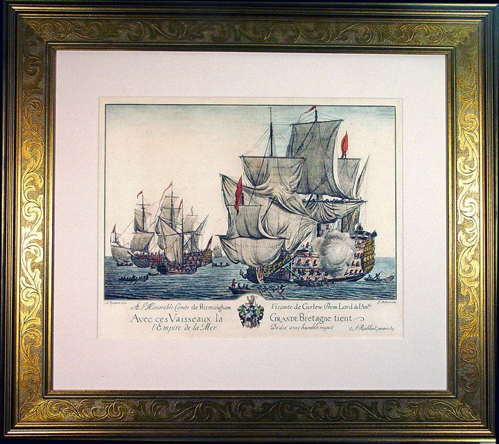 Engraving of H.M.S. Grande Bretagne by A. Roublard, Dated 1709