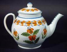 Antique English Prattware Pearlware Teapot decorated with Orange Flowers