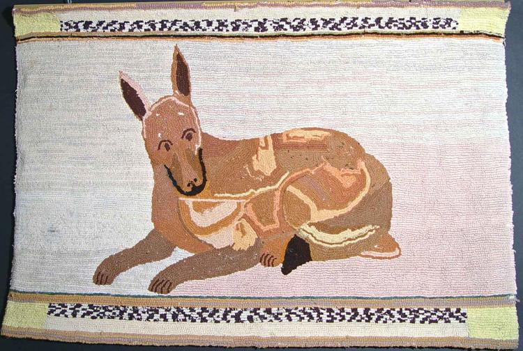 American Folk Art Hooked Rug decorated with a Dog made in Vermont