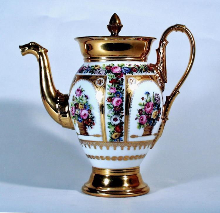 Paris Porcelain Botanical Coffee Pot and Cove
