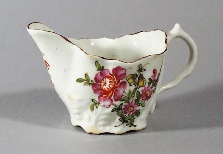 Antique Lowestoft Porcelain Chelsea Ewer-form Cream Boat