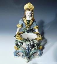 Italian Majolica Master Salt In The Form Of A Lady and Basket,  Ariano Irpino