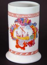 Antique Bohemian Milk Glass Tankard decorated with a Ship
