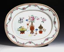 Chinese Export Oval Porcelain Famille Rose Dish