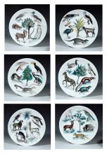 Limoges CH Field Haviland Earthly Paradise Set of Six Plates, Signed by Claude Beyer.Numbered 1 through 6.
