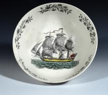 Antique English Wedgwood & Co. Creamware Nautical-subject Shipping Bowl