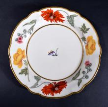 Flight & Barr Worcester Porcelain Botanical Plate, Circa 1792-1804.