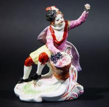 Antique Vauxhall Porcelain Figure of the Season Autumn Modelled as a Grape Vendor, Circa 1756-60.