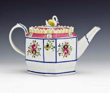 Pearlware Floral Octagonal Teapot with Swan Finial, Circa 1805.