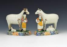 Pair of Yorkshire Prattware Ram & Ewe Figures with Shepherd and Shepherdess, Circa. 1800-20