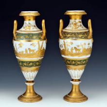 Pair of Paris Green and Gilt Porcelain Hunting Vases