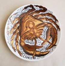 Piero Fornasetti Cancer Zodiac Porcelain Plate made for Corisia in 1974.