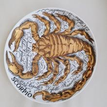 Piero Fornasetti Scorpio Zodiac Porcelain Plate made for Corisia in 1967.